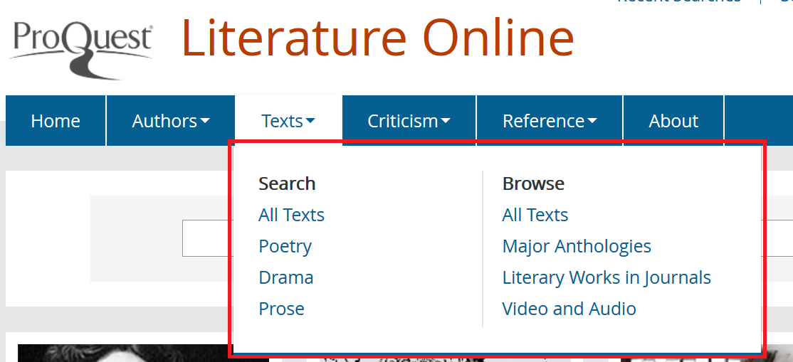 Detail of the Texts submenus Search and Browse