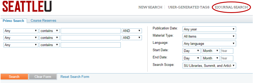 Image of the Library Catalog's Advanced Search screen with a red circle highlighting the EJournal Search link in the top right corner of the screen