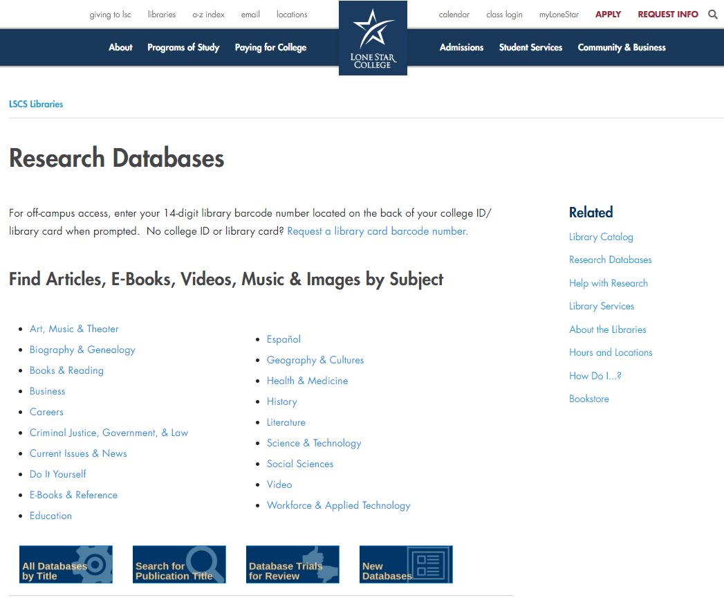 library research databases