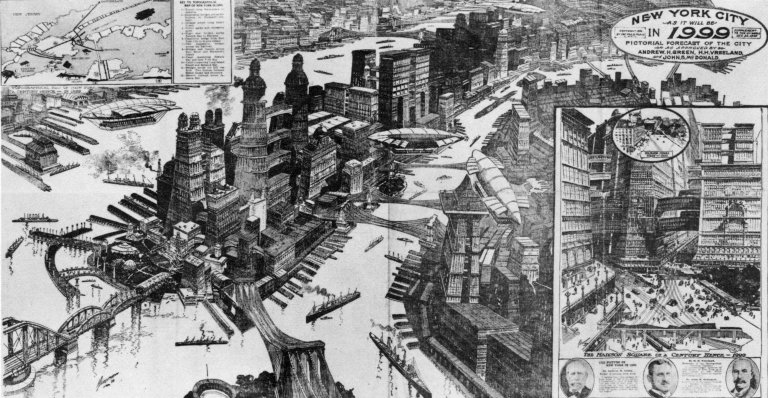 Aerial view of imaginary New York City as it would appear in 1999.