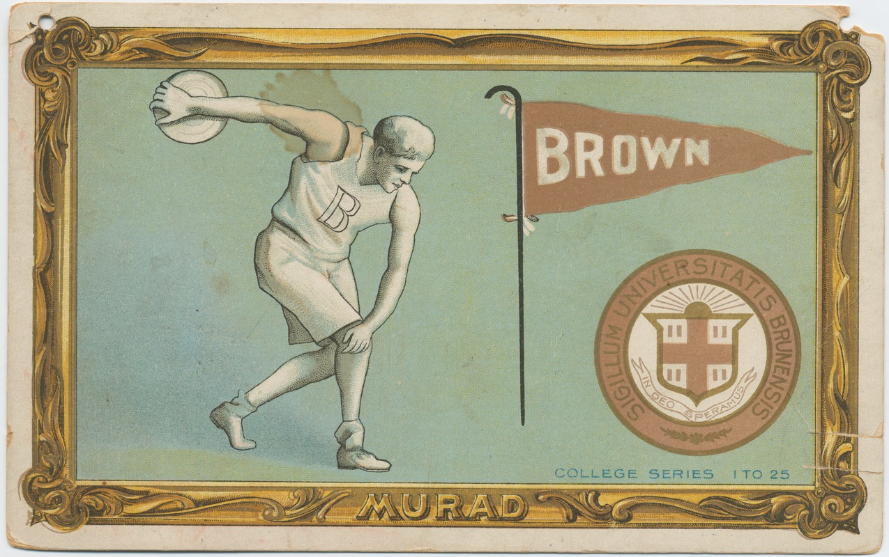 Cigarette card illustration of athlete throwing the discus.