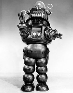 "Full length view of robot from the film ""Forbidden Planet."""