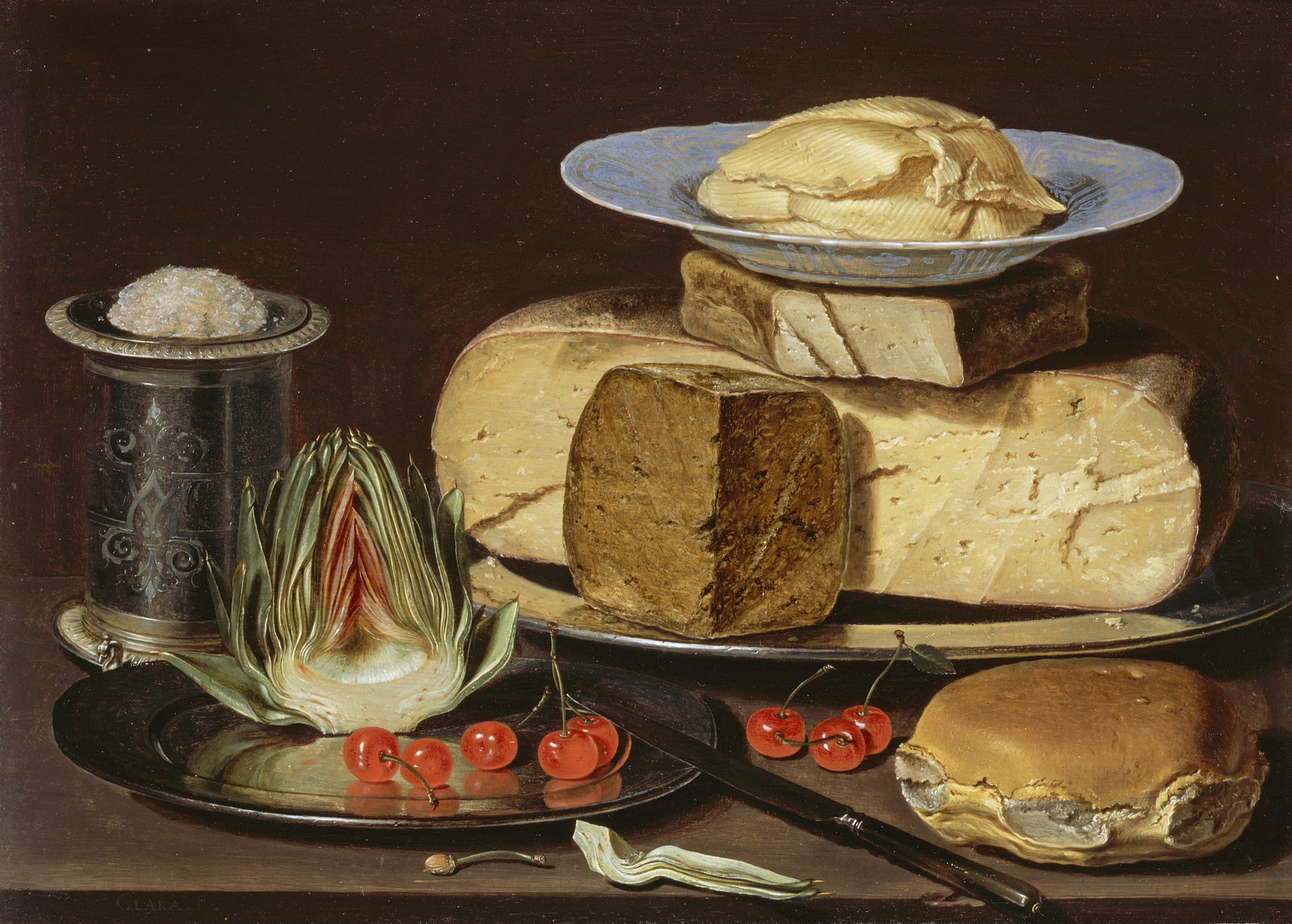 Still life painting with cheeses, artichokes and cherries.