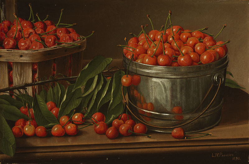 Still life of containers of cherries.