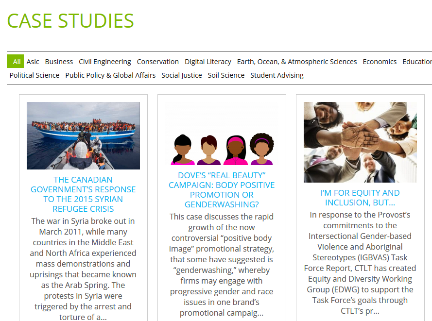 screenshot showing the Open Case Studies project