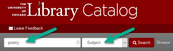 library catalog search for poetry as subject