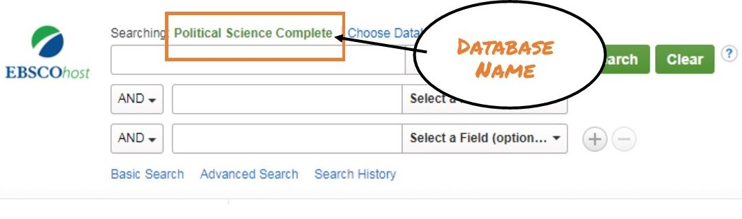 EBSCO database search box with database name highlighted