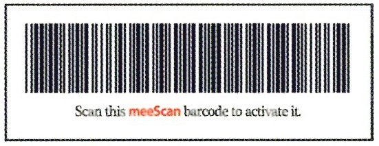 meeScan barcode -- scan the barcode to activate the meeScan app on your device