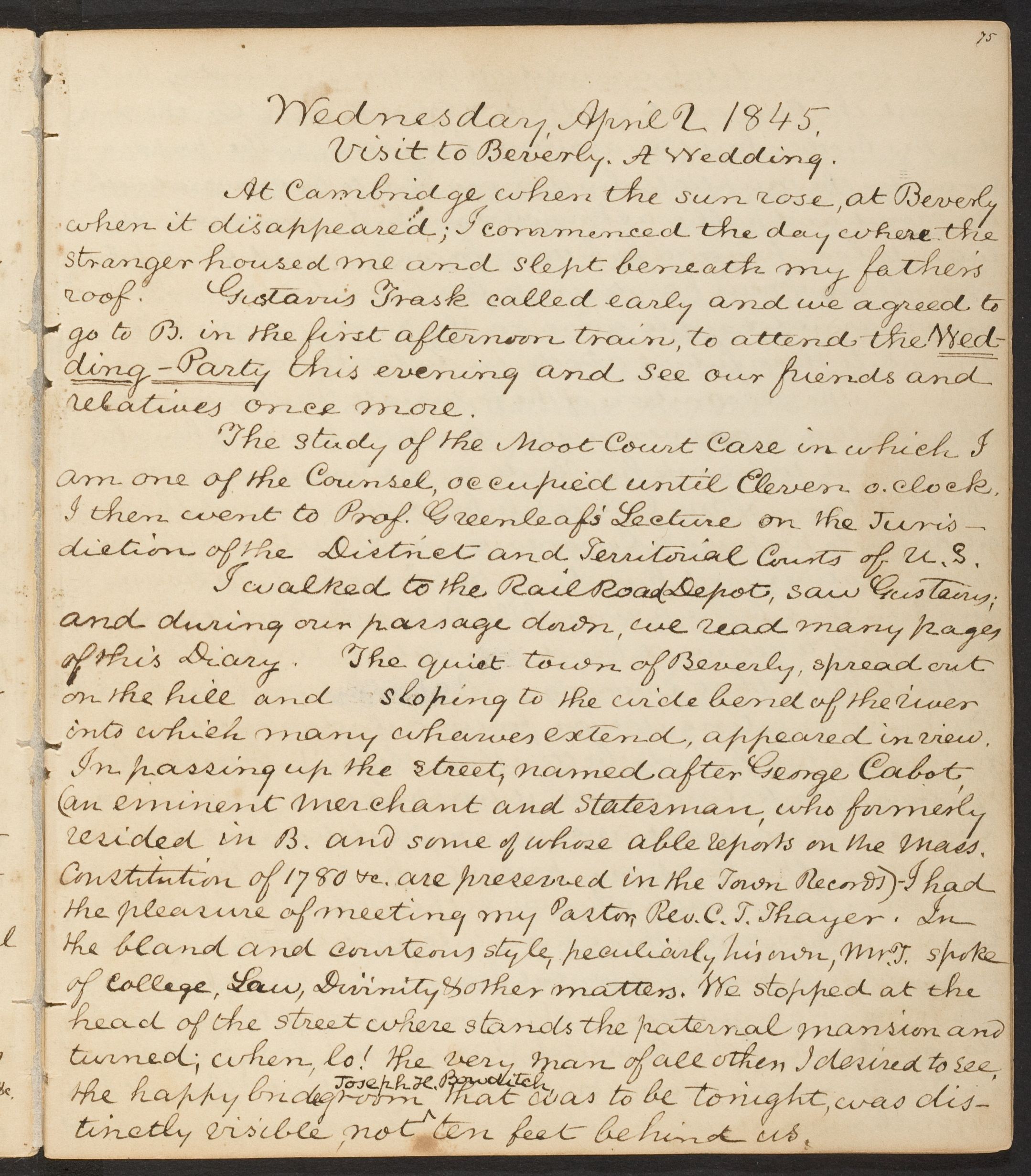 Image from James W. Boyden diary, HLS student, 1845-1846