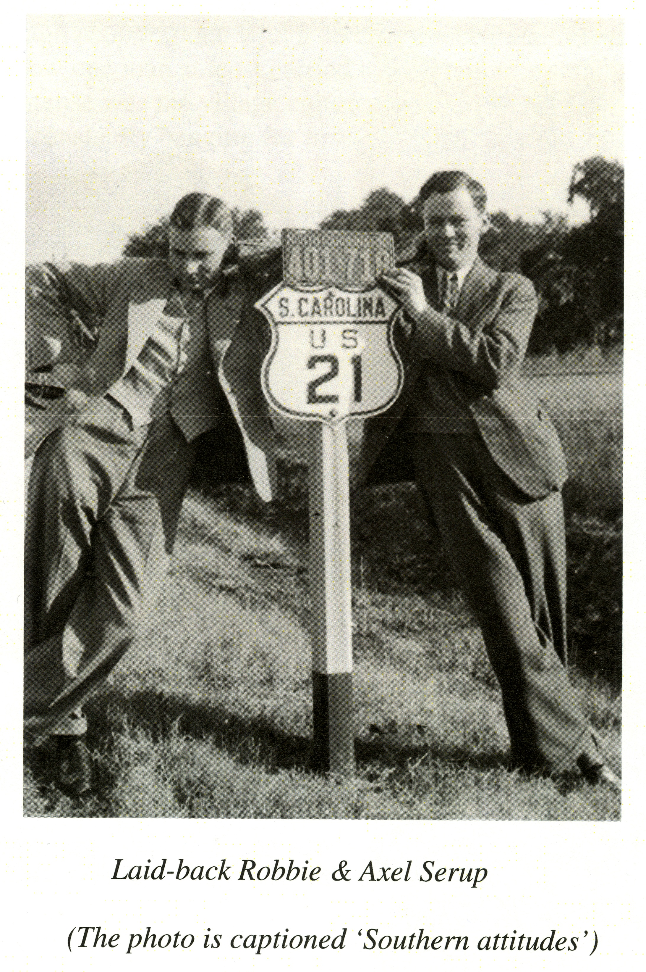 Reproduction of photograph of R.Y. Jennings and Axel Serup on a road trip, 1936