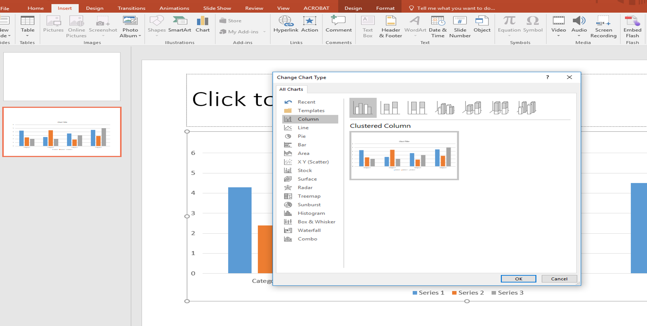 Powerpoint 2016 Chart Tab