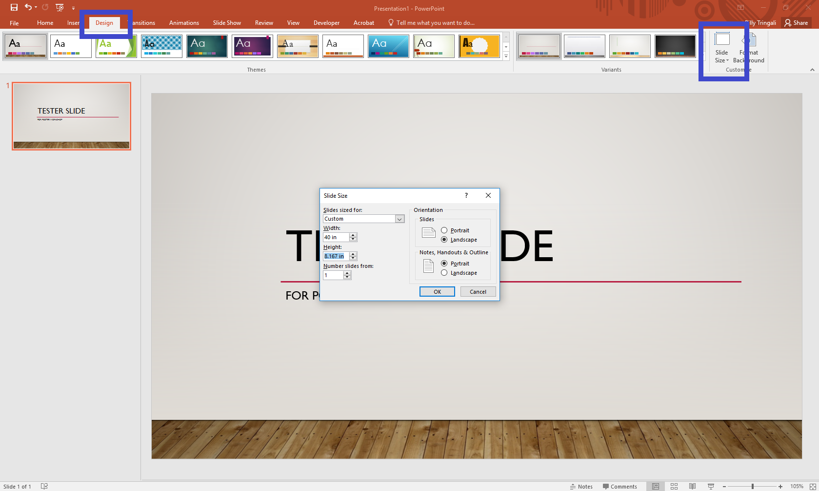 How to edit PowerPoint slide size image