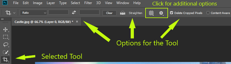 crop tool with additional options