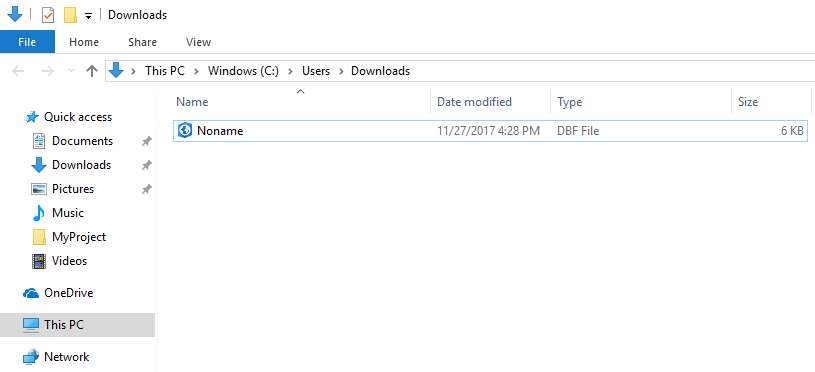 A DBF file in the downloads folder