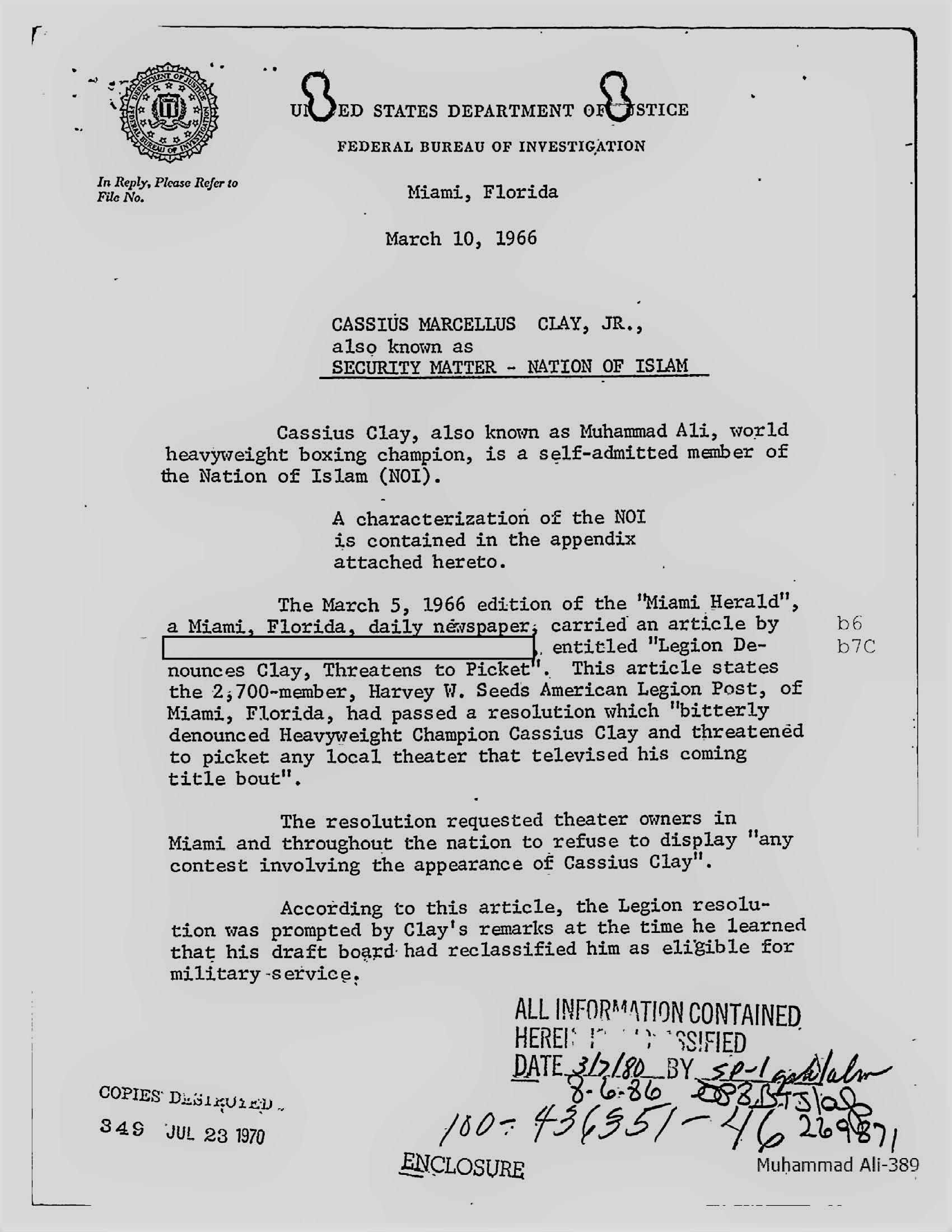 Page from FBI File on Muhammad Ali