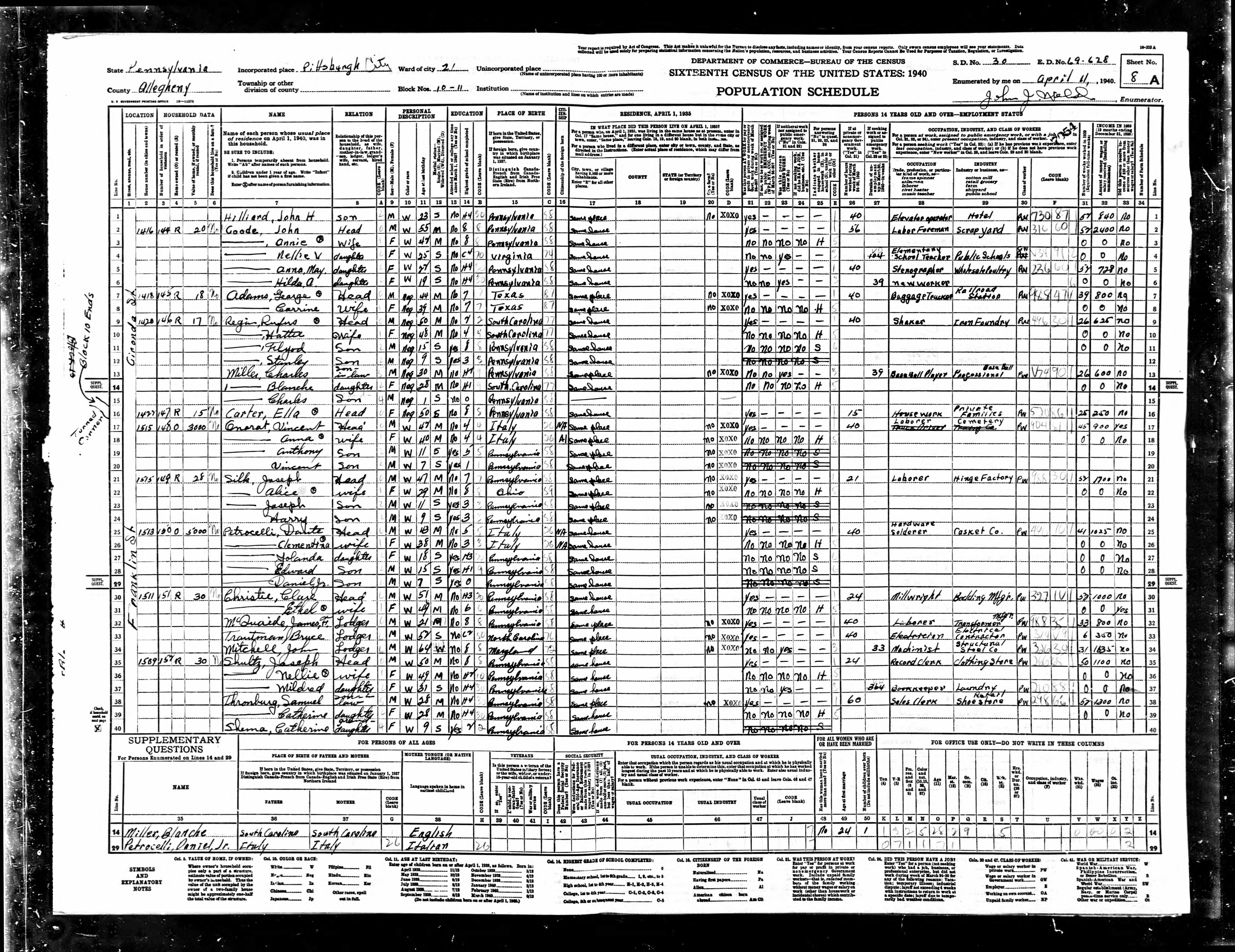 1940 Census Enumeration Form: Charles Miller, 30, African American, Professional Baseball Player