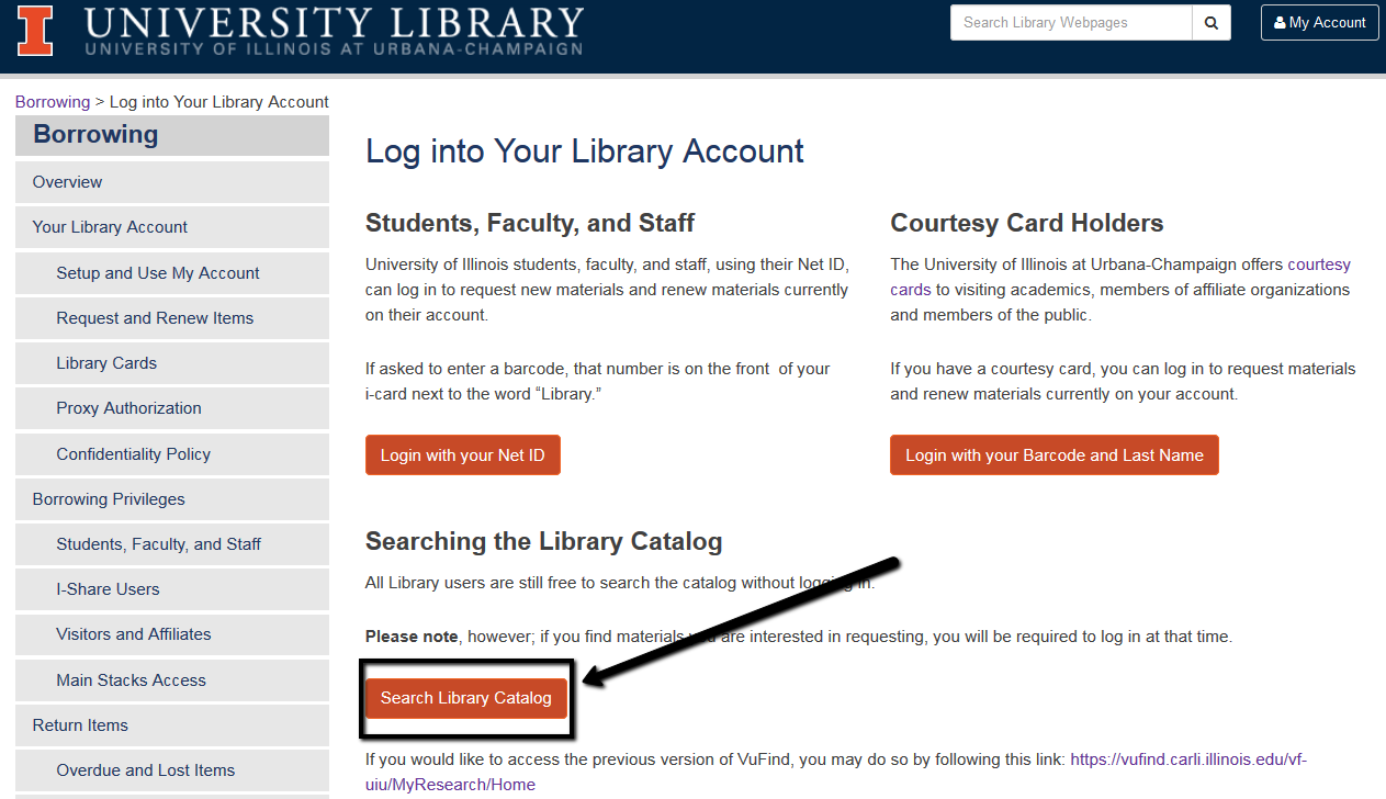 "screenshot of ""log into your library account"" webpage with an arrow point to the ""search library catalog"" option"