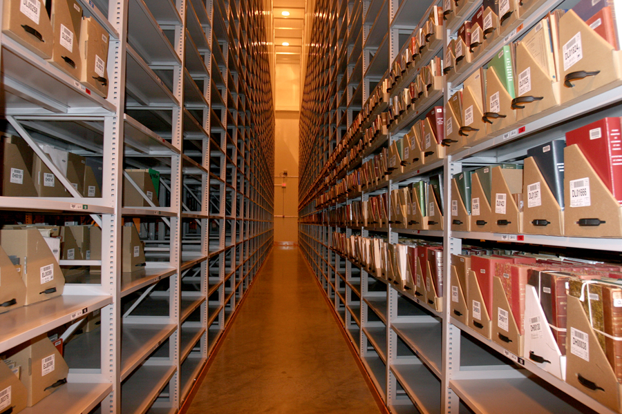 photo of oak street library's high-density storage stacks