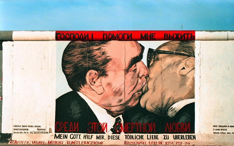 Brezhnev and Honecker socialist kiss.