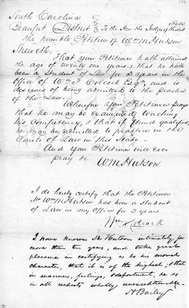 The Law Petition of William Maine Hutson, May 2, 1836