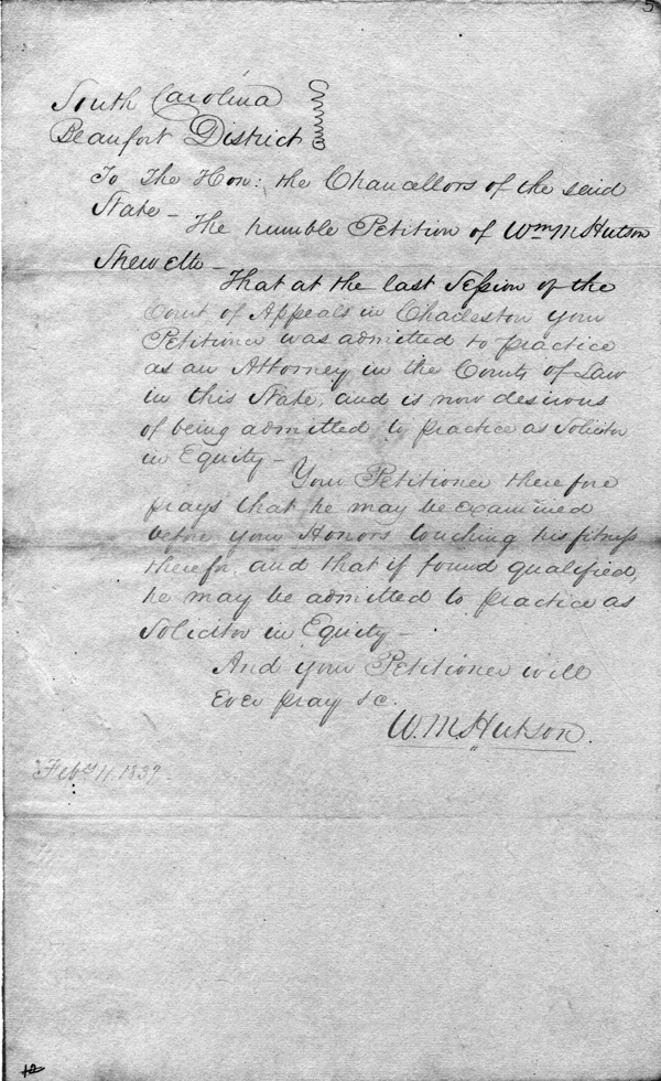 The Equity Petition of William Maine Hutson, February 11, 1839