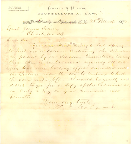 Letter to General Simons, March 28, 1872
