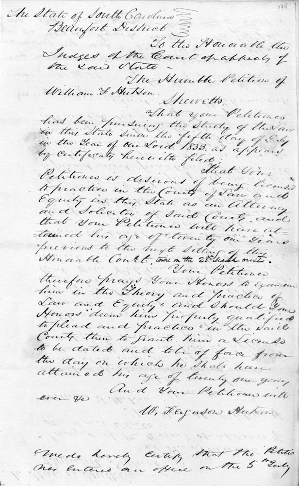 The Petition of William F. Hutson, July 5, 1833