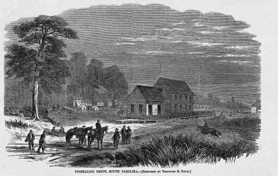 """Pocotaligo Depot, South Carolina [Sketched by Theodore R. Davis]"" (from Harper's Weekly, 25 February 1865)"