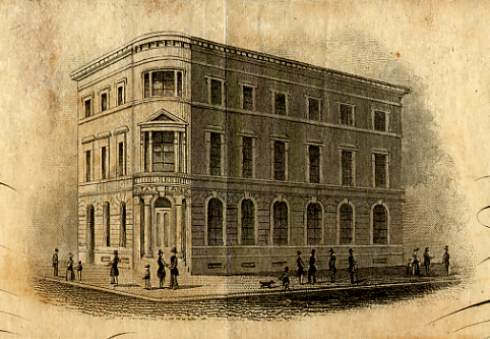 An engraving showing the Bank of the State of South Carolina building in Charleston from a bank stock certificate. The building was purchased as the bank's permanent home during President Colcock's tenure.