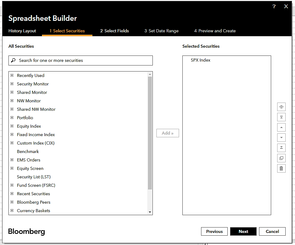 Downloading Data using the Bloomberg API-Step 3