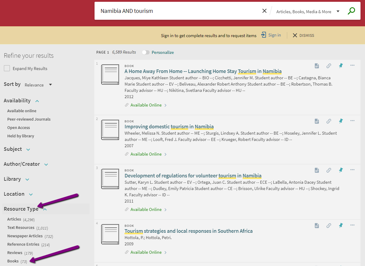 "Screenshot of WPI Library Search with arrows pointing to ""Resource Type"" and ""Books."""
