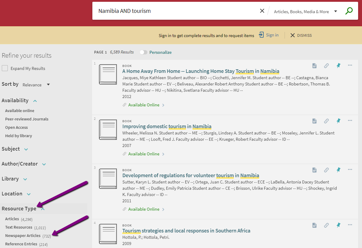 "Screenshot of WPI Library Search with arrows pointing to ""Resource Type"" and ""Newspaper Articles."""
