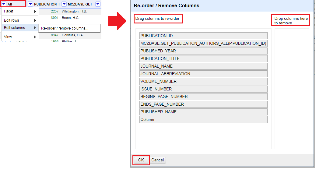 Process for reordering columns