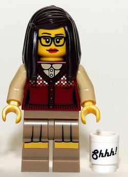 Lego librarian with glasses and sweater vest
