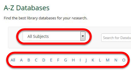 Library databases A-Z