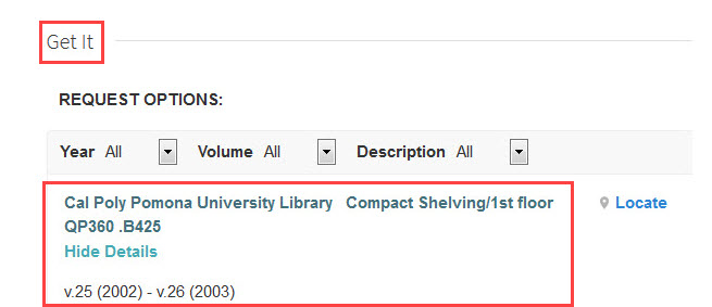 GET IT option in OneSearch pointing to a physical resource in the library.