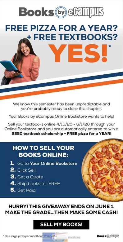 Free Pizza for a Year from campus store