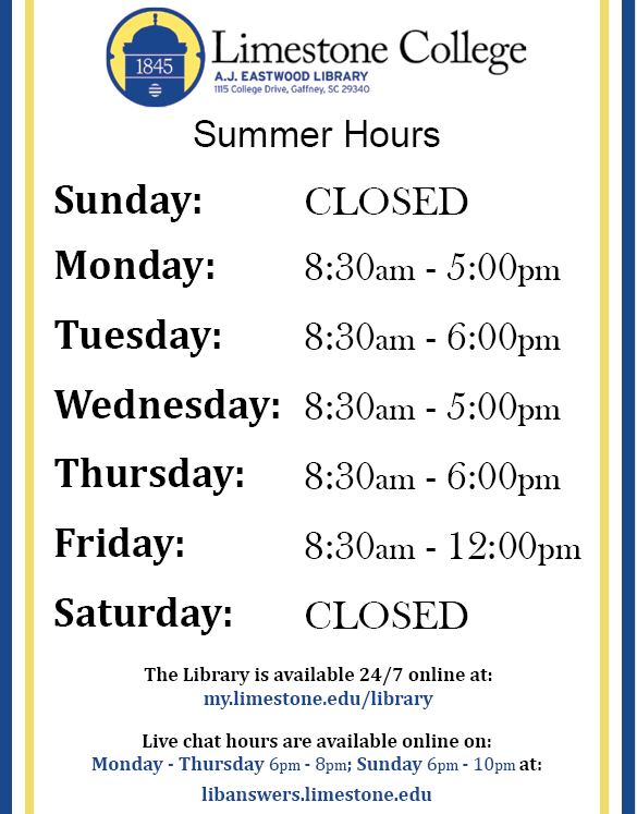 Library Summer Hours 2019 flyer