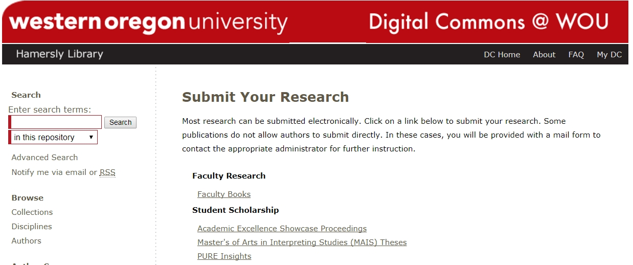 Digital Commons window showing submit research window