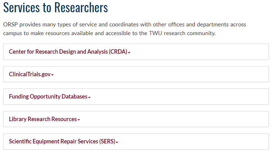 services to researchers