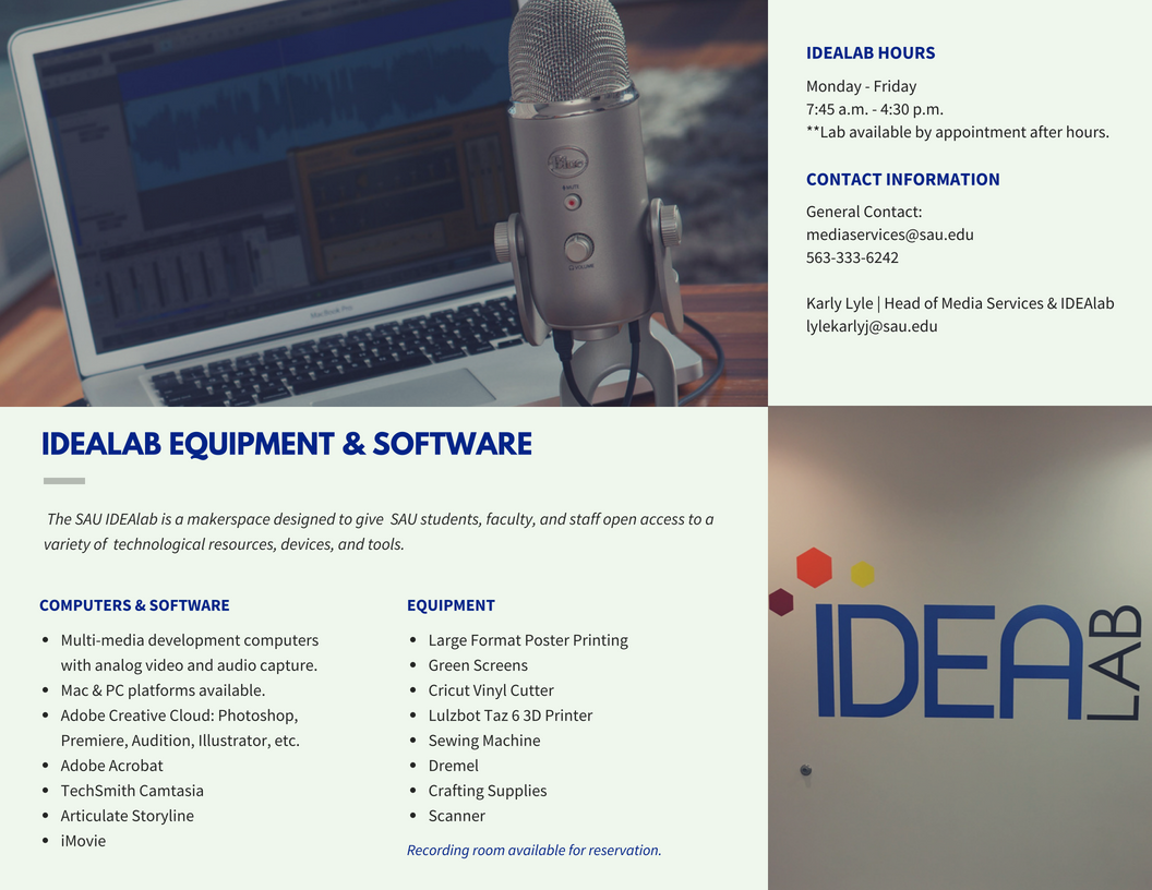 IDEAlab equipment and software