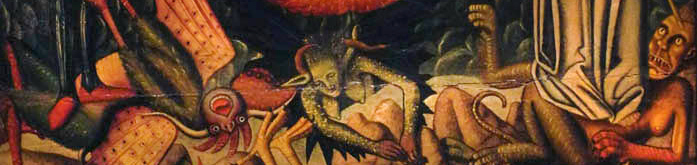 Detail from Miguel Ximenez, God the Father and Saints Crushing Demons, ca. 1490