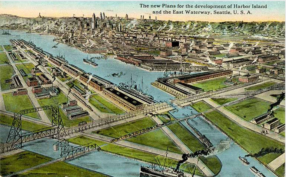 Postcard: Bird's-eye view of Harbor Island and the East Waterway, Seattle, ca. 1915