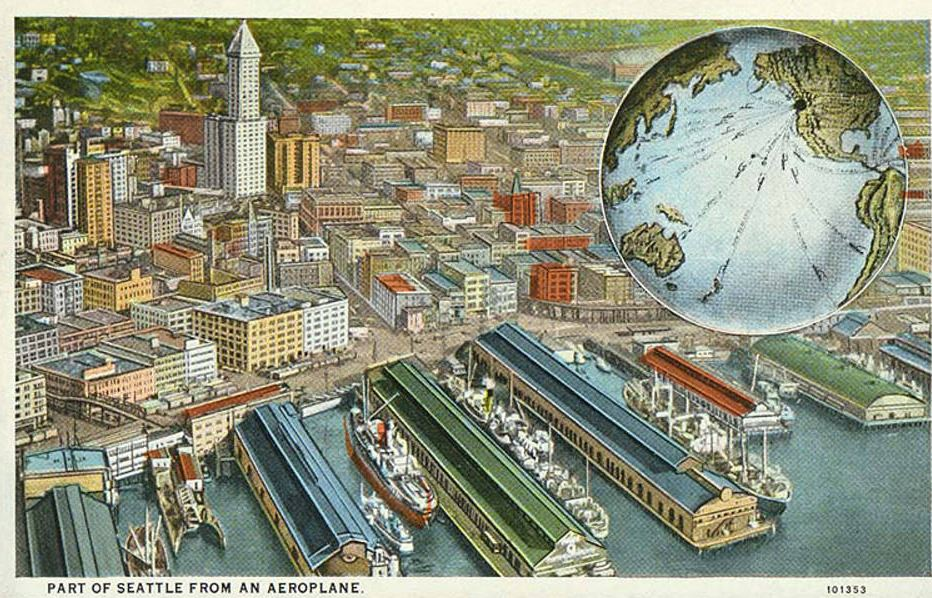 Postcard: Skyline of Seattle, including the Smith Tower and waterfront, ca. 1928