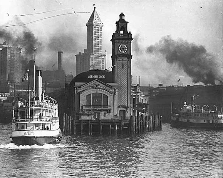 Photo: Colman Dock, L.C. Smith Building and nearby waterfront from Elliott Bay
