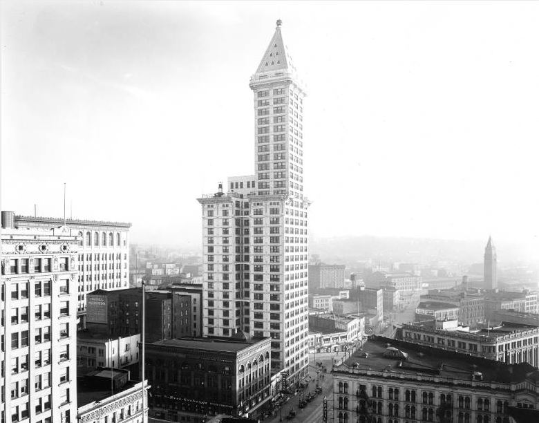 Photo: L.C. Smith Building, 2nd Ave. northeast corner Yesler Way, looking southeast, 1939