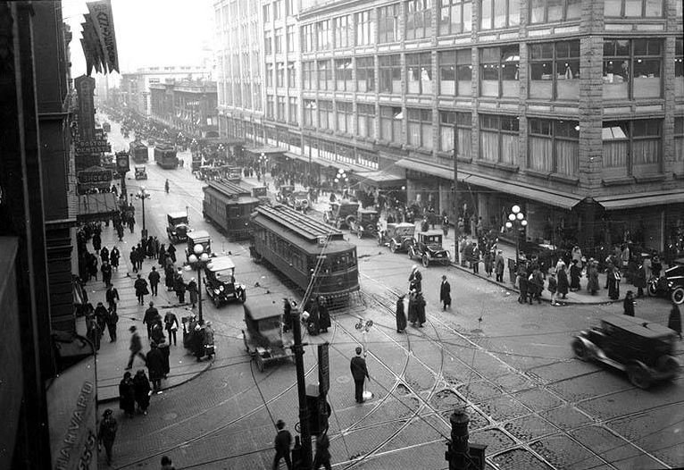 Photo: 2nd Ave. from Pike St., ca. 1920