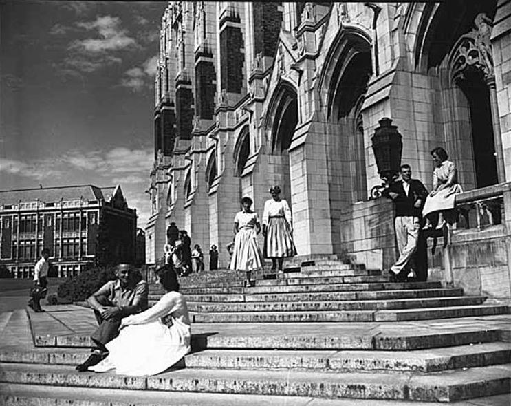 Photo: Students on steps of Suzzallo Library, 1953