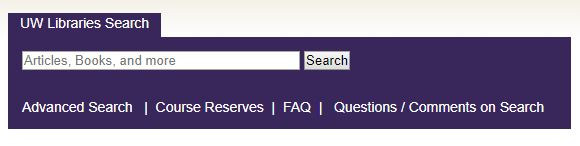 Image of the UW Libraries Search Box