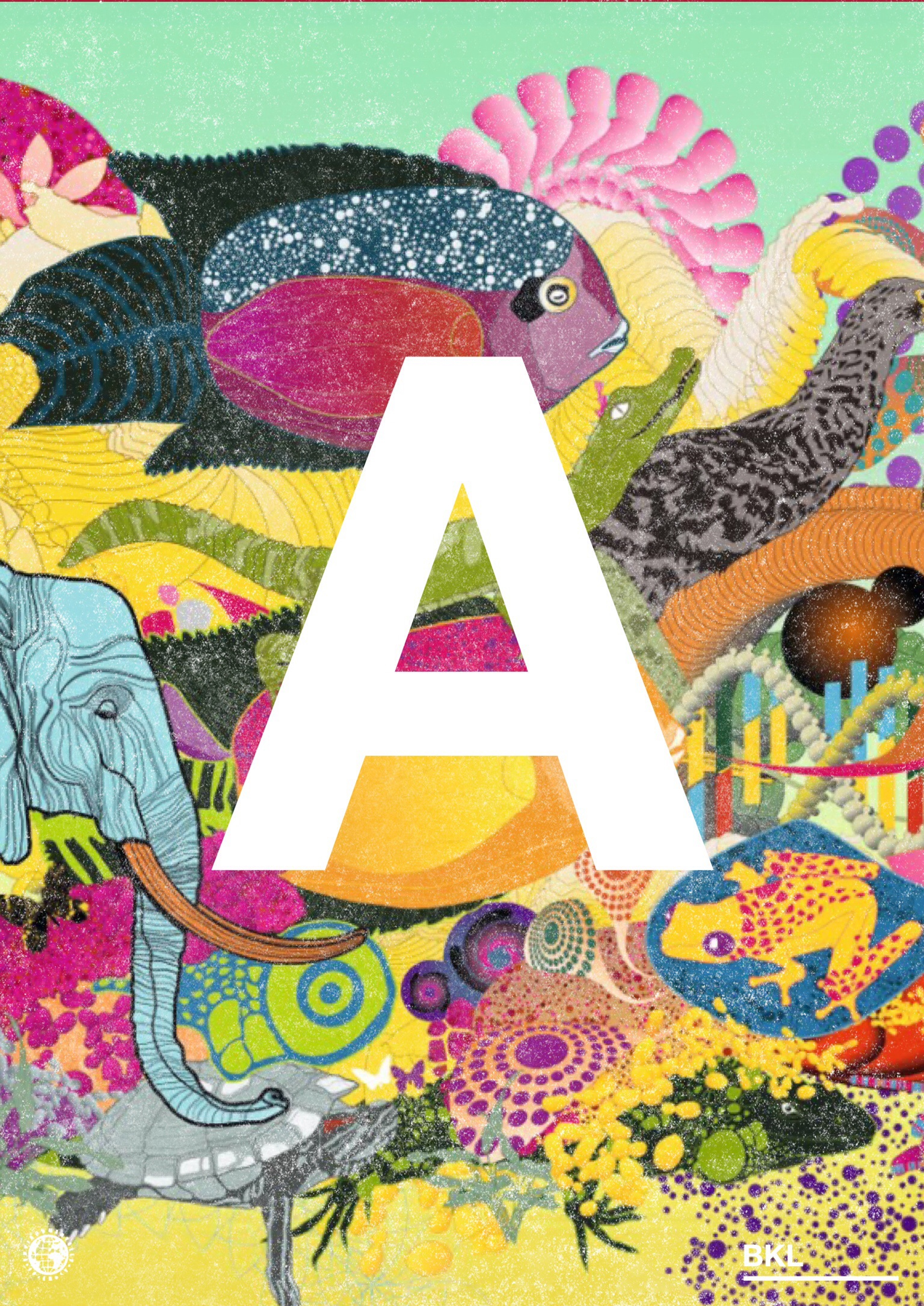 Letter A surrounded by colorful animals
